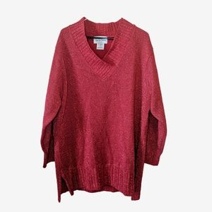 DVF | Vintage Metallic Holiday V Neck Sweater
